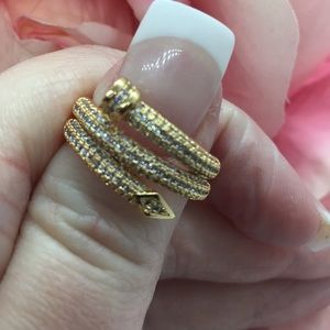 18K Gold Pave Crystal Ring
